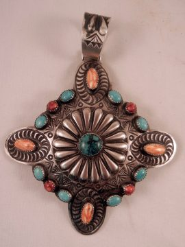 Navajo Shawn Cayatineto Large Multi-Stone and Sterling Silver Pendant