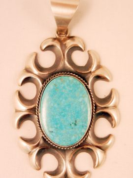 Navajo Harrison Bitsue Sandcast Sterling Silver and Turquoise Pendant