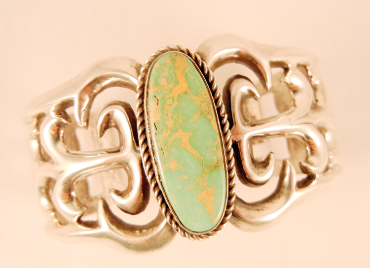 native-american-indian-jewelry-navajo-bracelet-eugene-mitchell-sandcast-sterling-silver-turquoise-cuff (1)