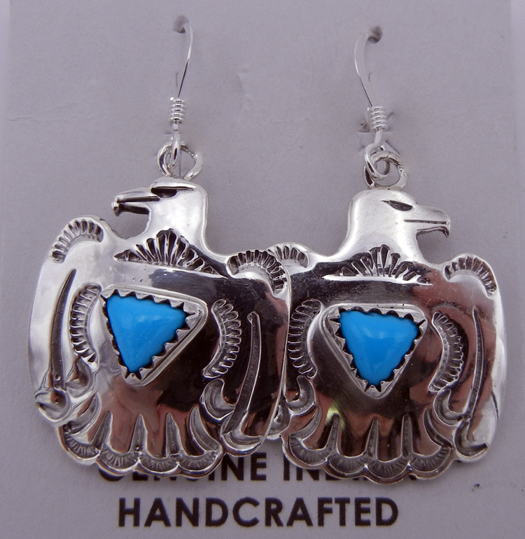 native-american-indian-jewelry-navajo-earrings-small-turquoise-sterling-silver-thunderbird