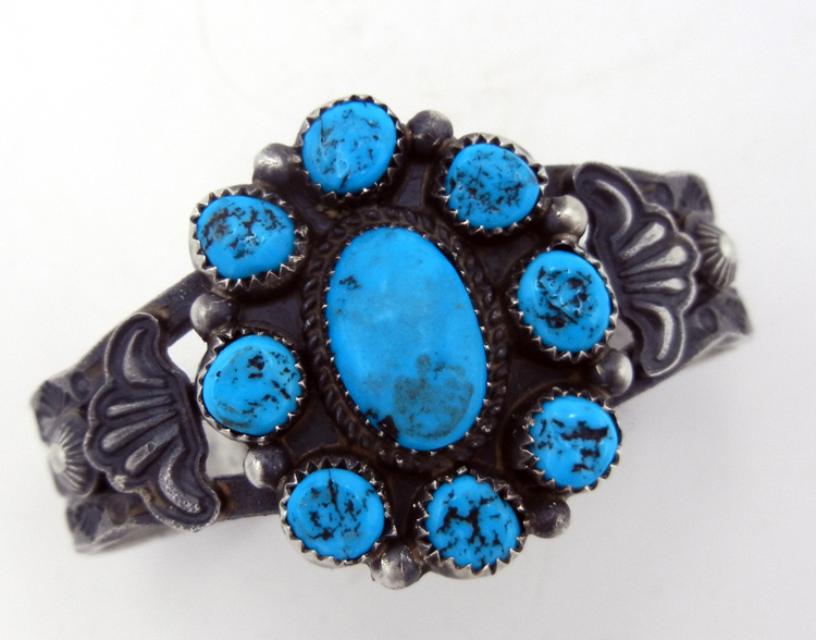 Navajo sandcast sterling silver and turquoise rosette cuff bracelet by Linberg and Eva Billah