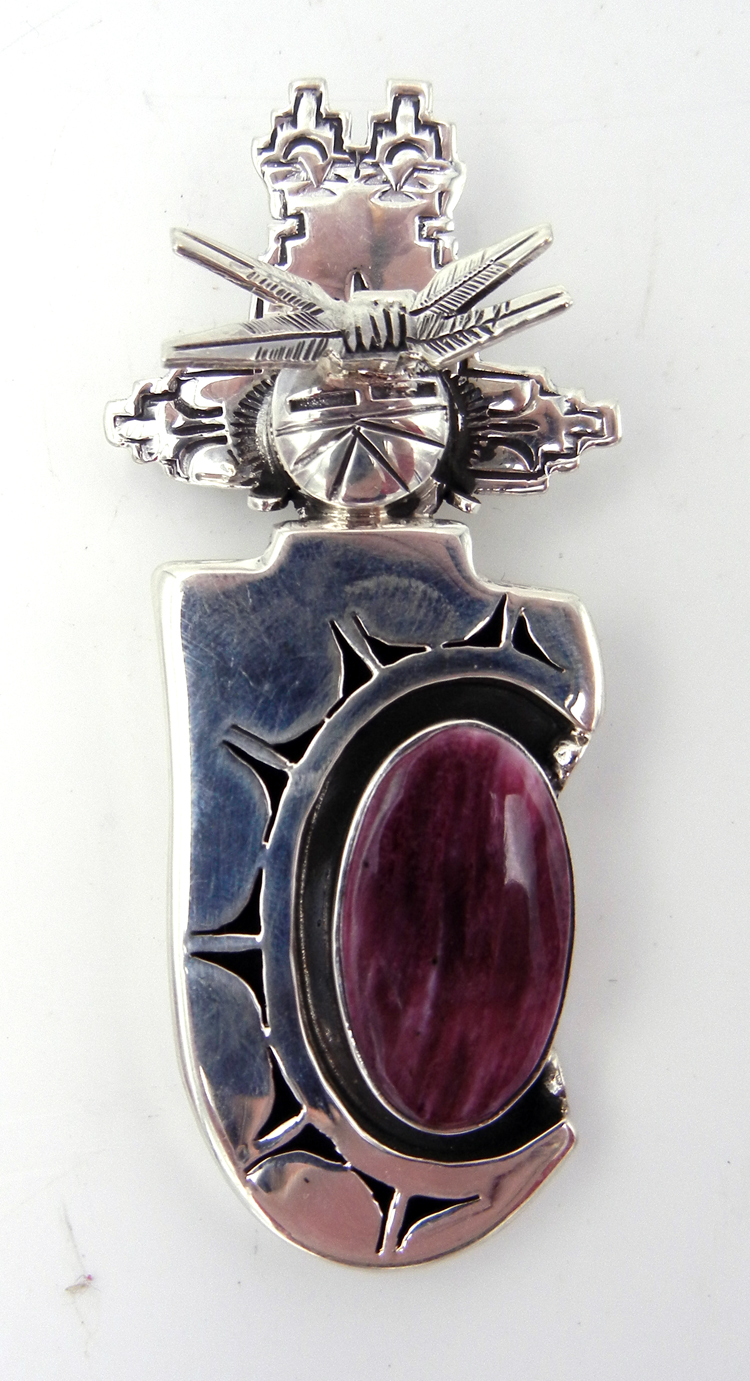 Navajo purple spiny oyster and sterling silver shadowbox maiden pendant by Bennie Ration