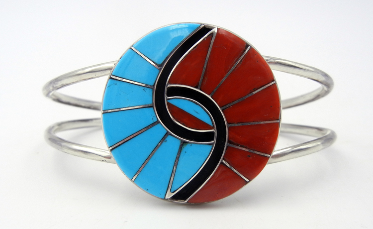 Zuni turquoise, coral, and sterling silver inlay hummingbird pattern cuff bracelet by Amy Quandelacy