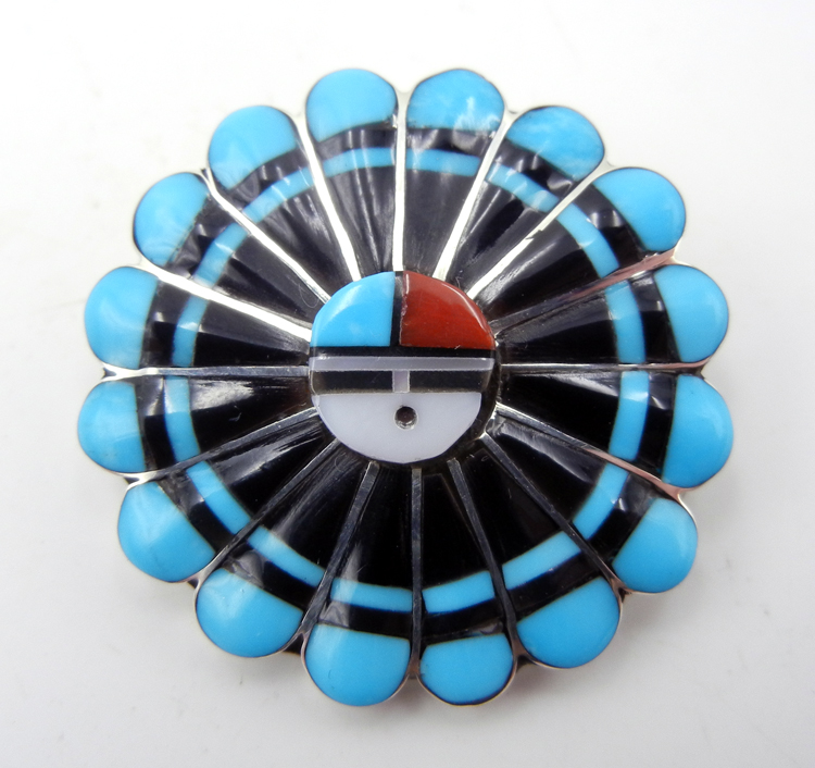Zuni multi-stone inlay and sterling silver sunface pin