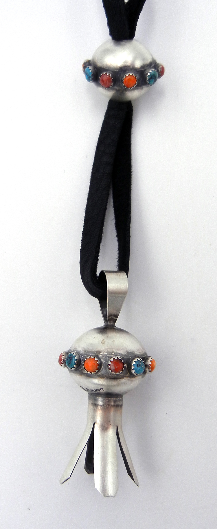 Navajo Monica Smith Brushed Sterling Silver and Multi-Stone Squash Blossom Necklace on Leather